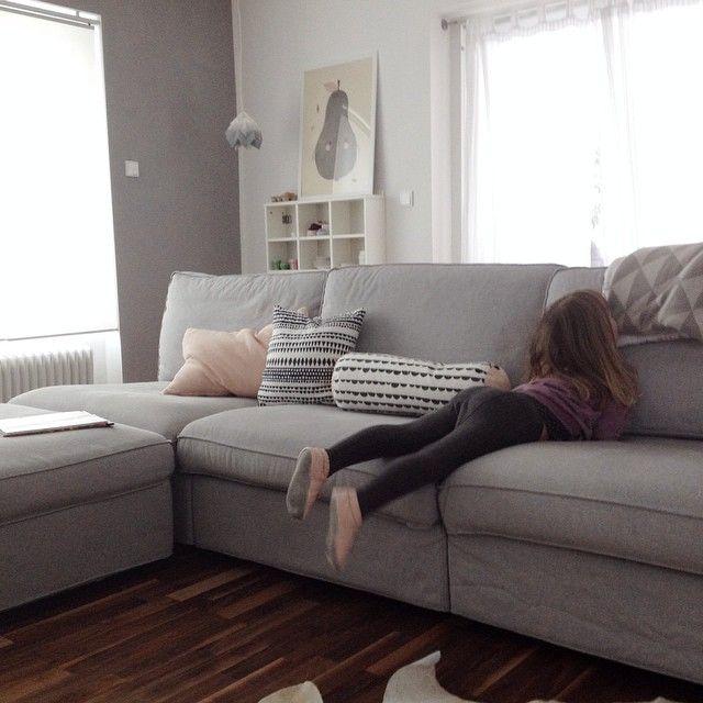 Grey Kivik Sofa Black White And Pink Throw Pillows Furniture