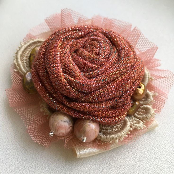 Купить Маленькая текстильная брошь розочка в интернет магазине на Ярмарке Мастеров