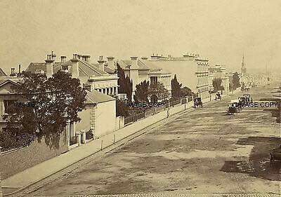Collins St in Melbourne near the corner of Spring St in 1868.