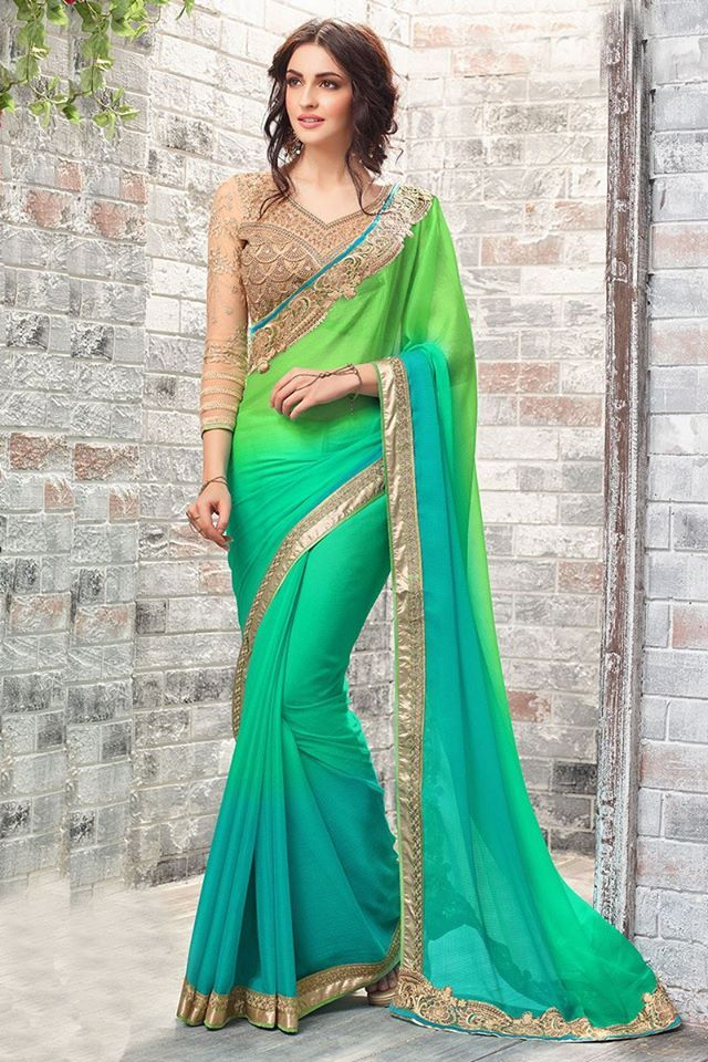 Ladies treat yourself to this gorgeous Bollywood style saree this #Diwali! Buy it online - http://www.aishwaryadesignstudio.com/pista-green-with-chiffon-saree