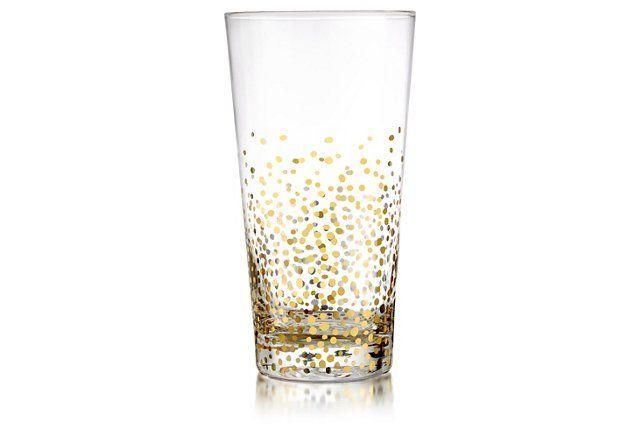 S/4 Gold Luster Highball Glasses