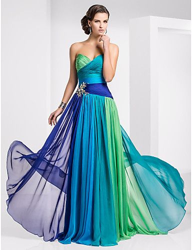 Fiesta de baile/Baile Militar/Fiesta formal Vestido - Ombre Azul/Verde Corte Recto Hasta el Suelo - Strapless/Escote Corazón Gasa
