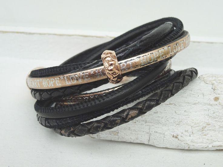 Wickelarmbänder - Wickelarmband - Leder - schwarz / rose´ - ein Designerstück von moanda bei DaWanda