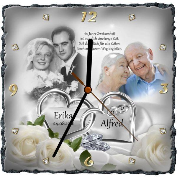 Schieferuhr Die Geschenkidee Zur Diamanthochzeit Diamantene Hochzeit Hochzeit Kissen Hochzeit