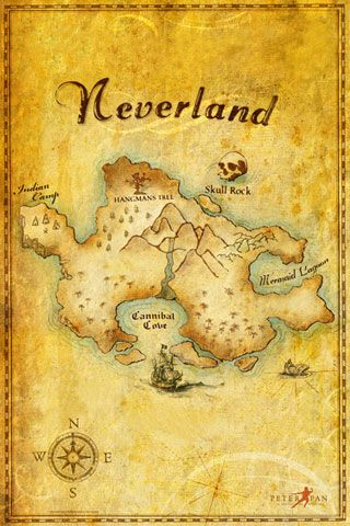 A Neverland map--One day I will have a boy, and if his room isn't in Harry Potter, it will be in Peter Pan and this will be hanging on his wall :)                                                                                                                                                      Más