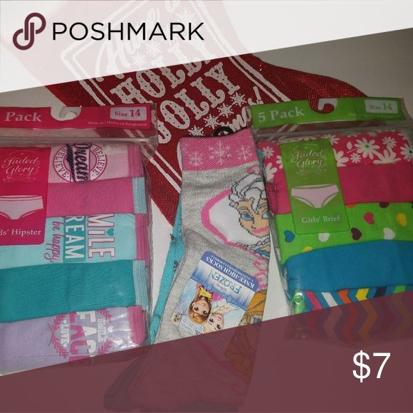 🎁STOCKING STUFFERS!🎁 Girl Underwear&Sock Set 🎁2 Packs of Hanes Underwear sz14 ... 5 count each 🎁Two Pair of Tall Frozen Socks 🎁🎄SAME DAY SHIPPING!!!🎄🎁 Hanes Other