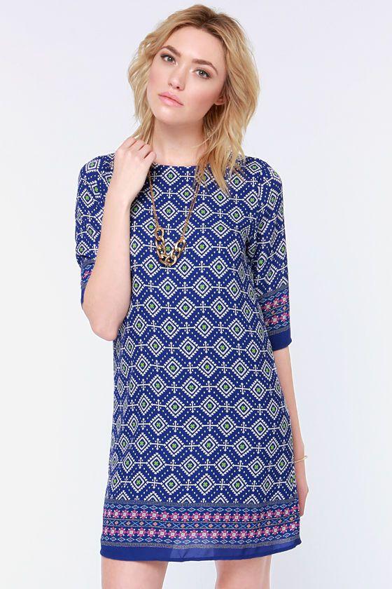 Prints Charming Blue Print Shift Dress at Lulus.com!