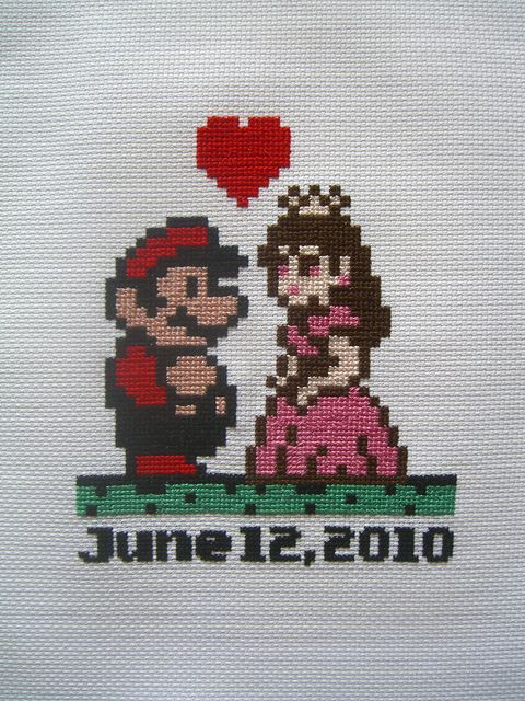 Mario and the Peach cross stitch pattern