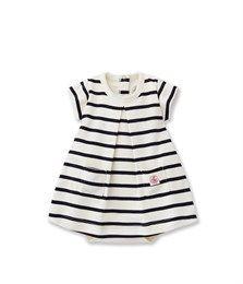 2 en 1 body robe bébé fille à rayure marinière beige Coquille / bleu Abysse - Petit Bateau