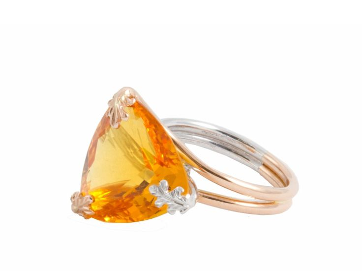 Citrine set in 18ct rose and white gold from Clinton Holloway Collection manufactured and stocked by Jack Friedman