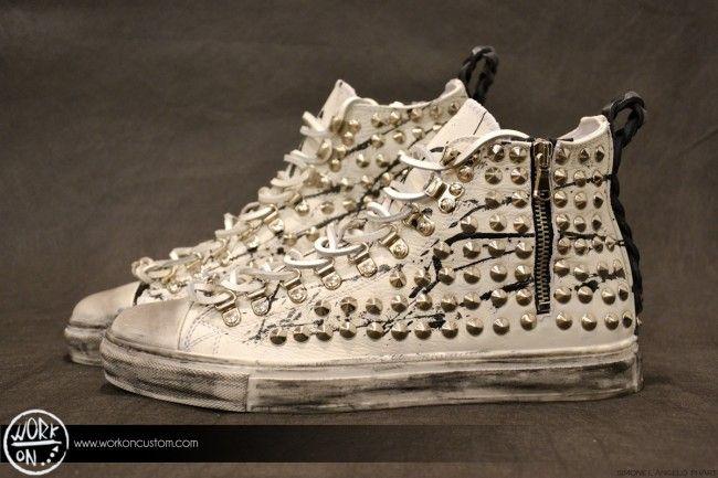 Work_On leather shoes - #leather #shoes #custom #studs #sneakers #workon #fashion #handmade #madeinitaly - www.workoncustom.com - mod. White Night