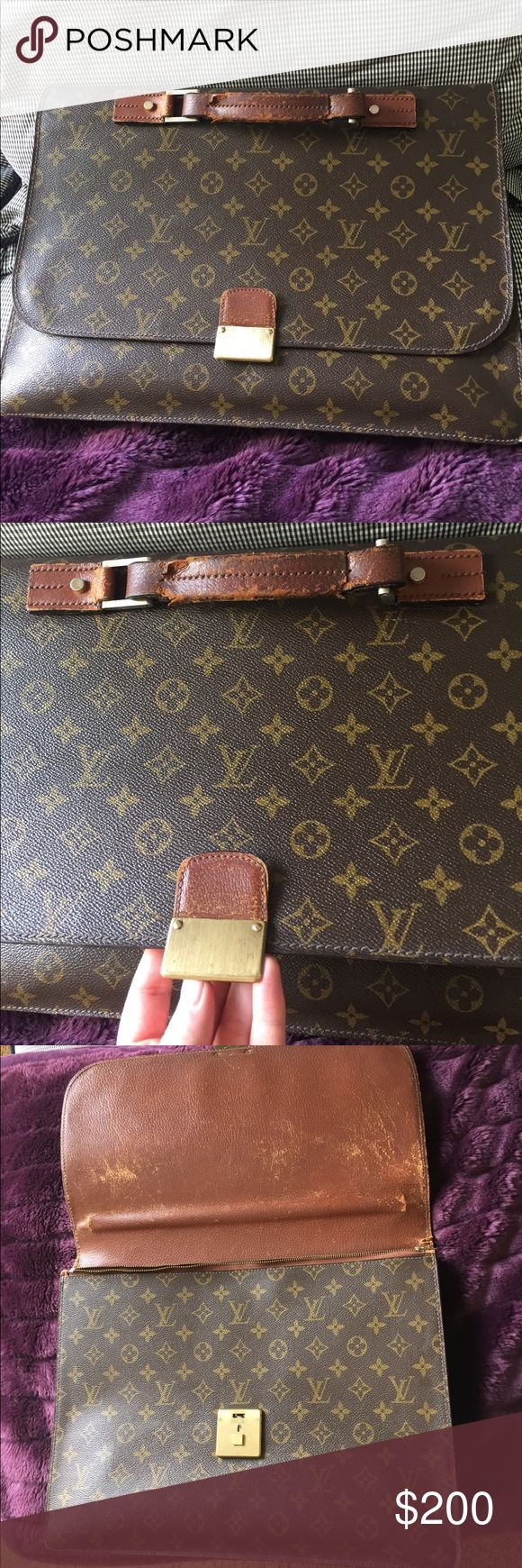 Louis Vuitton briefcase monogram Super vintage and old, and very used condition. Bought it from a consignment shop in dc for $500 five years ago. Will fit a 13 inch laptop easily or folders and notebooks. Zipper says Alpine on it. When I asked someone that worked at the LV store if it was authentic they said it's either extremely old or a really good fake Louis Vuitton Bags Laptop Bags