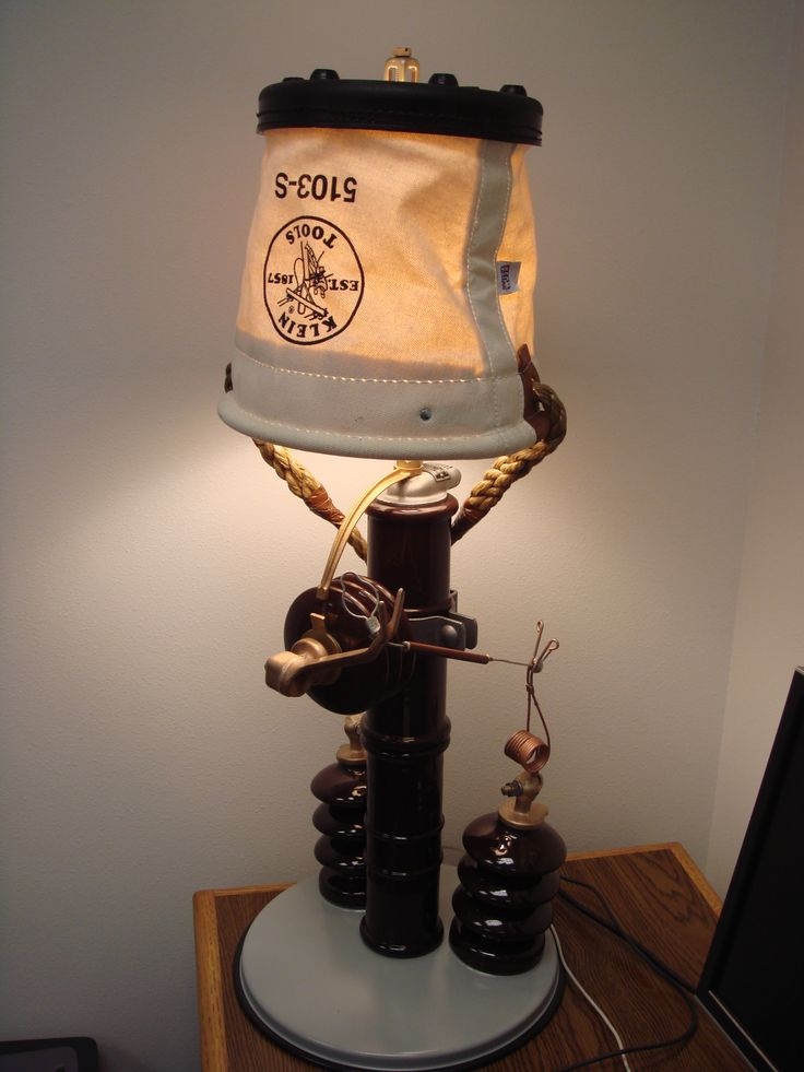 #Lamp made out of #recycled junk parts and a #KleinTools 5103S Heavy-Duty Tapered-Wall Bucket – awesome!