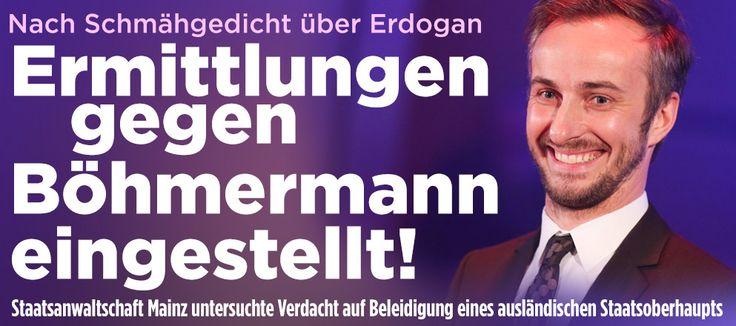 Verfahren gegen Jan Böhmermann eingestellt http://www.bild.de/politik/inland/politik-inland/sieg-fuer-boehmermann-klatsche-fuer-erdogan-48126242.bild.html