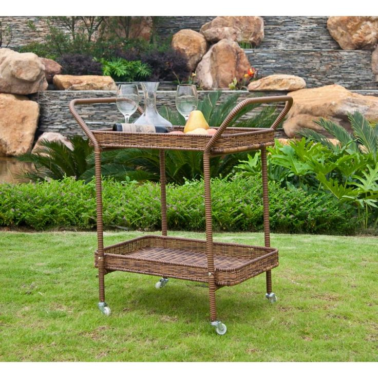 32 Honey Brown Resin Wicker Outdoor Patio Garden Serving Cart with Wheels, Patio Furniture