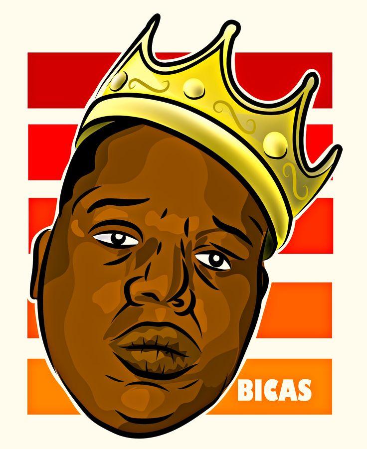 notorius big , big poppa , biggie small , ilustracion , king , illustrator