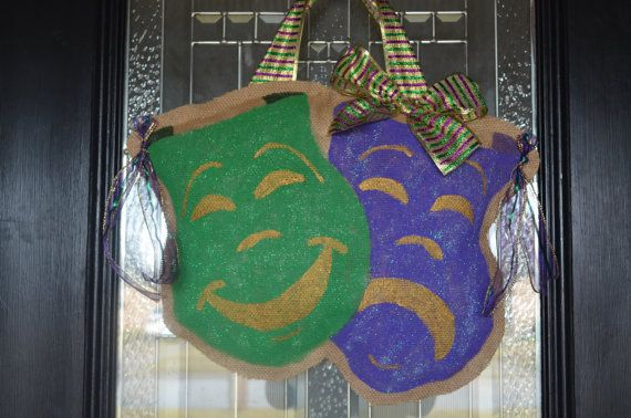 Mardi Gras burlap Door Hanger by LittleTicklebug on Etsy