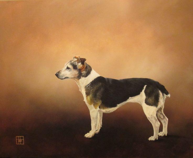 'Old Tilley' pet portrait - acrylic on wood panel