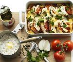 Gratinerad kassler med mozzarella och sparris