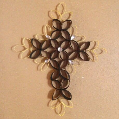 Black and yellow toilet paper roll cross we made