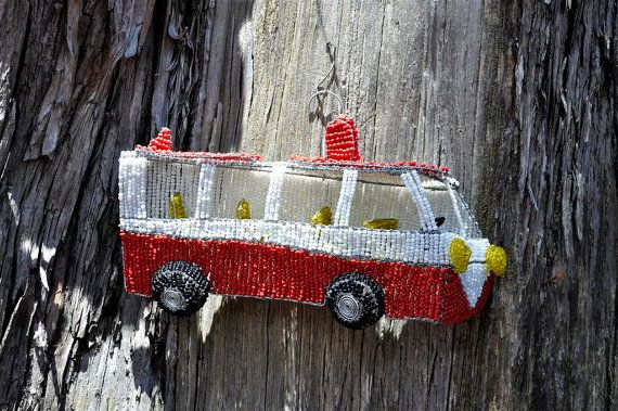 Beaded African bus Hanging wire sculpture by akwaabaAfrica on Etsy, $59.00
