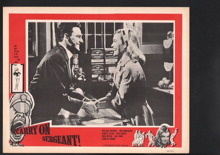 Lobby Card with Bob Monkhouse and Shirley Eaton in Carry On Sergeant. 1958