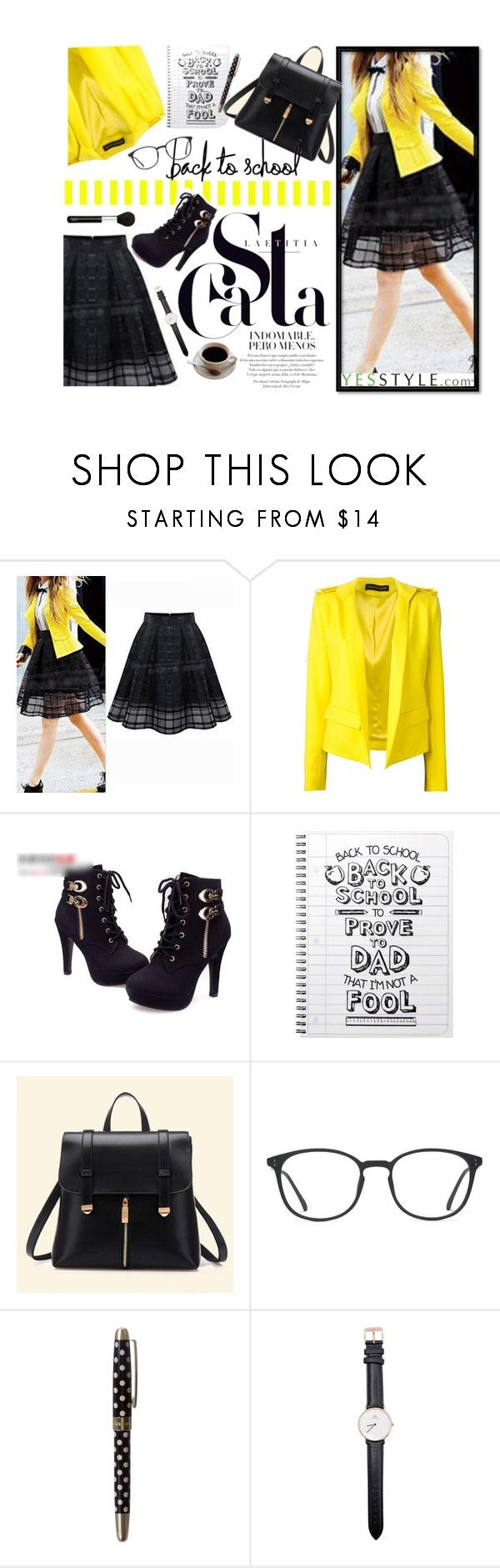 """""""Back to school No. 2"""" by m-zineta ❤ liked on Polyvore featuring Eloqueen, Alexandre Vauthier, IYATO, BeiBaoBao, GlassesUSA, Kate Spade, Daniel Wellington and NARS Cosmetics"""