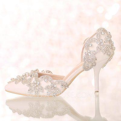 [US$ 61.99] Women's Leatherette Stiletto Heel Closed Toe Pumps Sandals With Rhinestone (047095878)