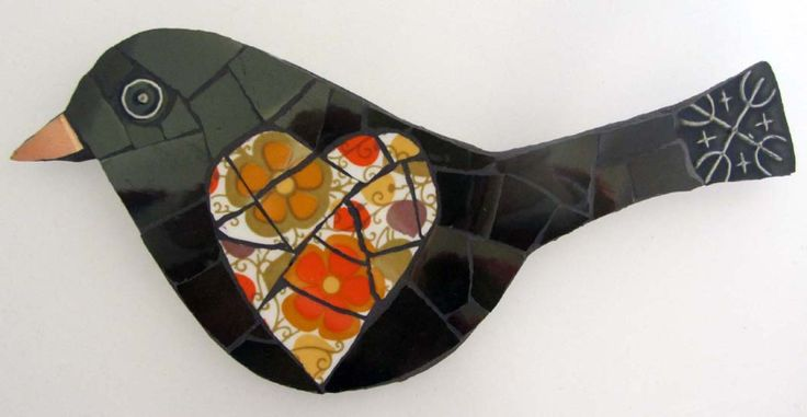 Mosaic Blackbird with heart by Smashing China Mosaics, created with Vintage china