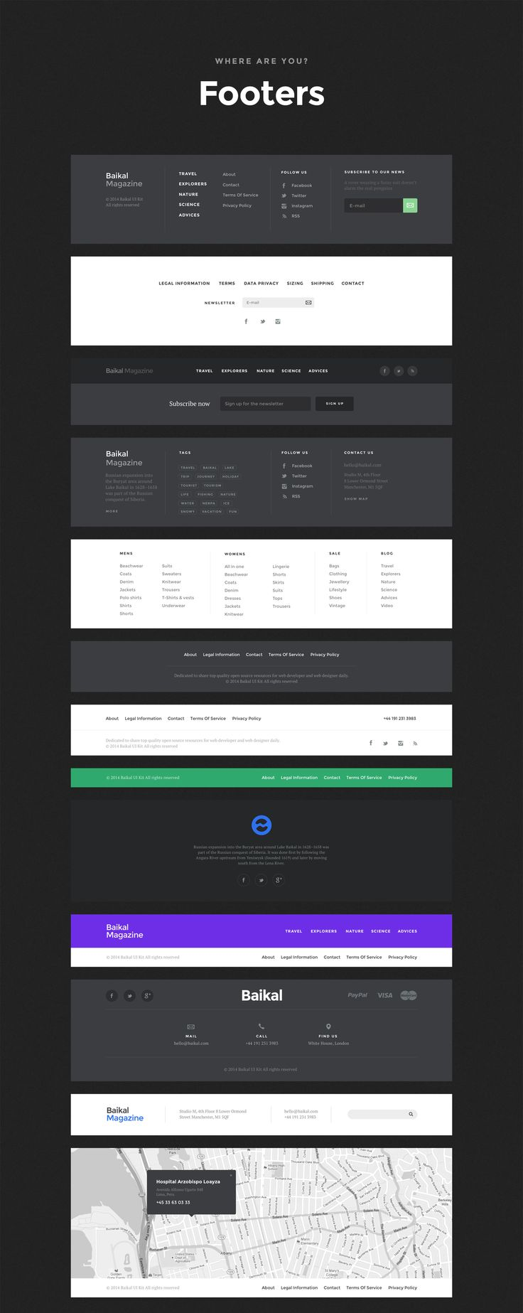 Baikal UI kit – footers