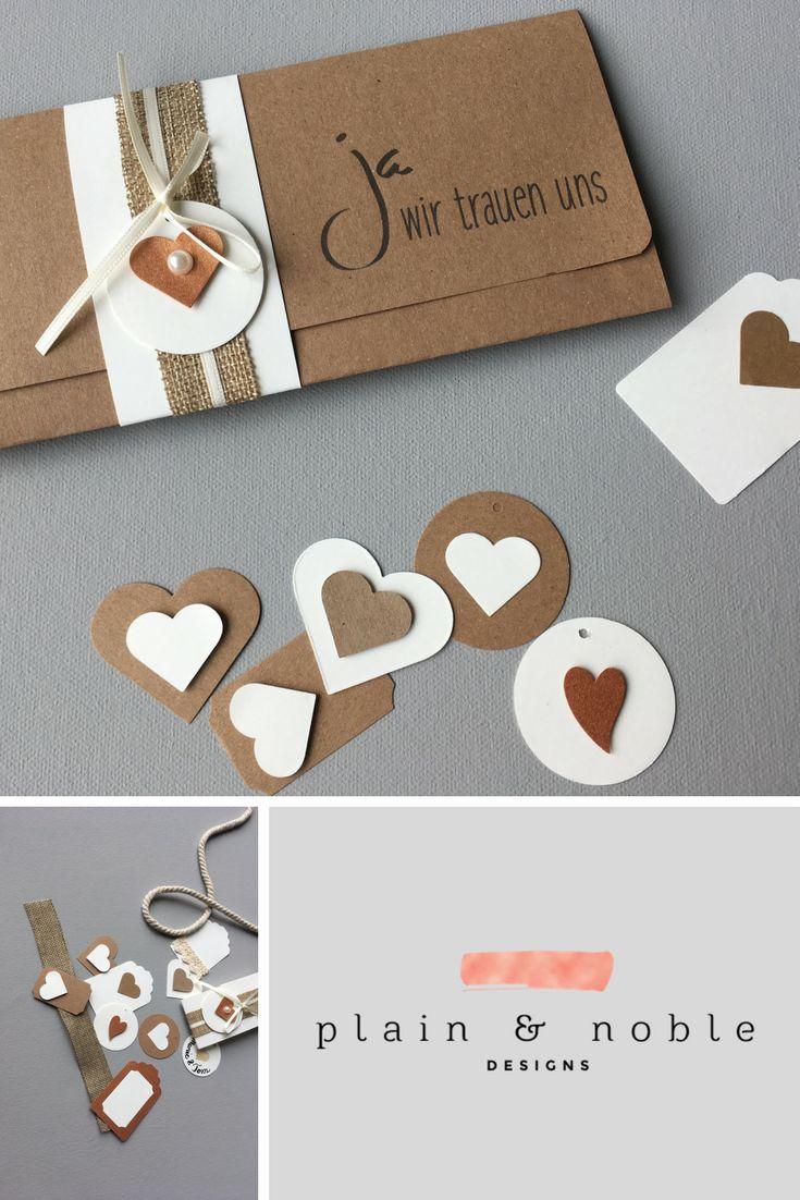 Hochzeitseinladung im Vintage Stil auf Kraftpapier und individuellen Accessoires… – Papeterie für die Hochzeit