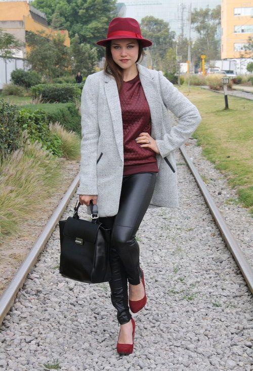 Grey coat & leather black pants & bordeaux accents