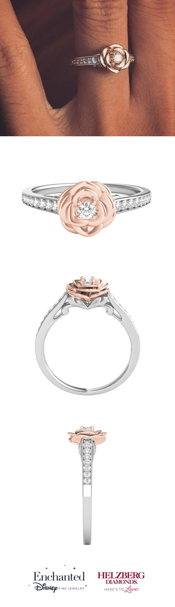 The heart, like a rose, blossoms when loved.   Sweep your beauty off her feet with gorgeous rose gold paired with 15 brilliant cut diamonds. #helzberg #beautyandthebeast #enchantedrose #disneyenchanted