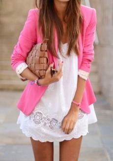White dress, and pink blazer