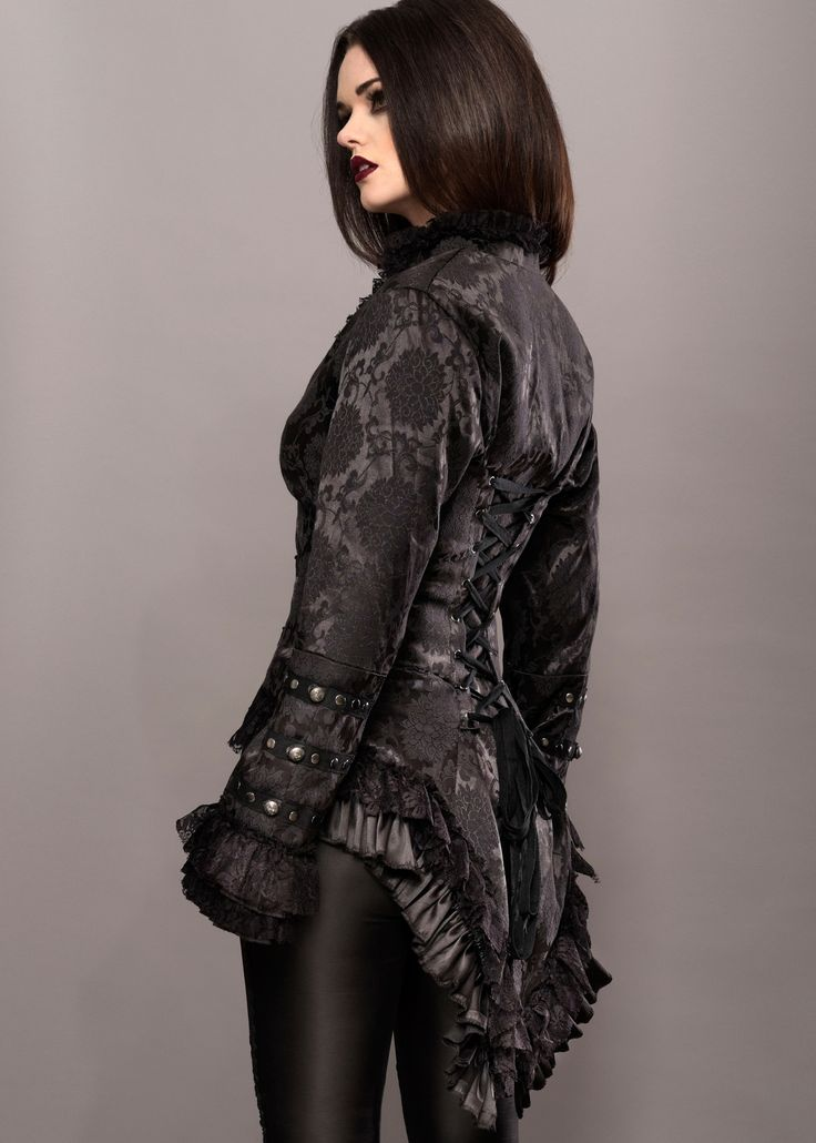 This elegant black victorian blazer features lacing on the back, stud decoration, flounces on the seams and a button closure on the front. Put it on and look wickedly awesome! The jacket is made of 60