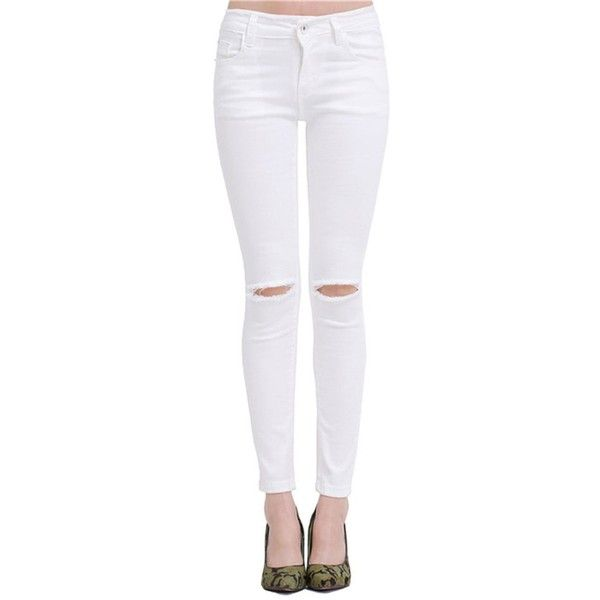 SheIn Women's Slim White Ripped Denim Pants (6.880 HUF) ❤ liked on Polyvore featuring pants, slim trousers, torn pants, white pants, denim trousers and denim pants