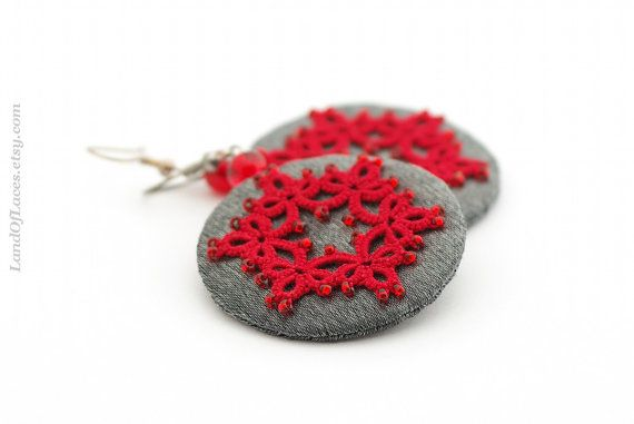 Boho earrings. Red and silver gray lace earrings in contrasting colours. Circles are made from silver grey taffeta with the sewn motive of…