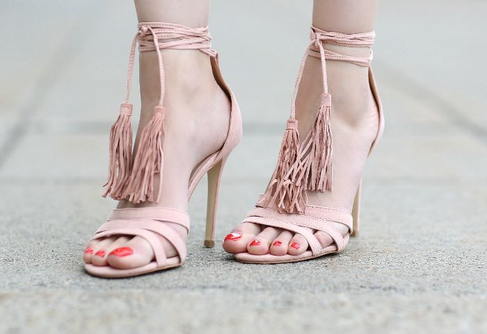 Blush Lace-Up Fringe Heels
