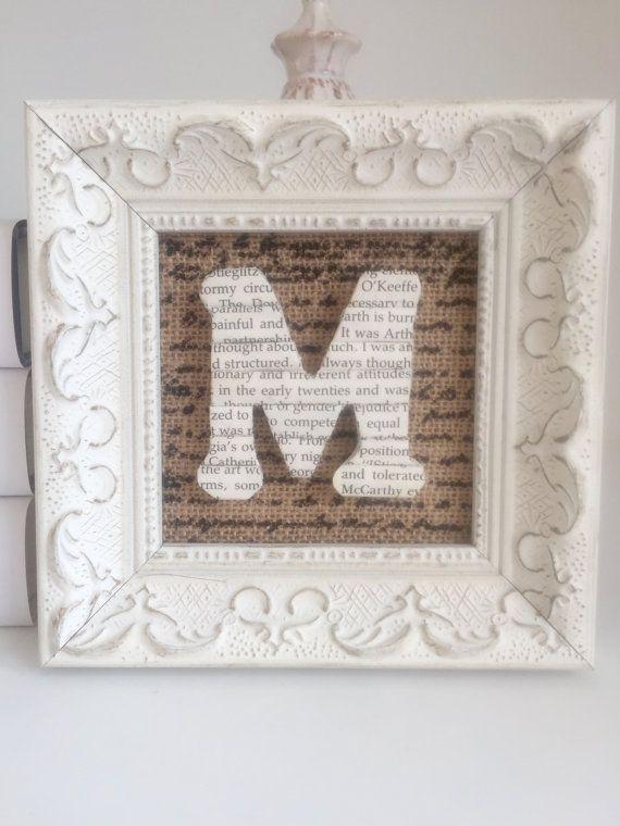 Framed Initial Book Letter Framed Book Letter Book Lover