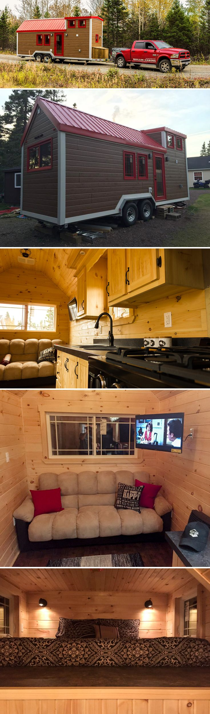 A 210 sq.ft. tiny house on wheels built on a 24' trailer. Nine opening windows allow for plenty of natural light. Insulated for Canadian winters.