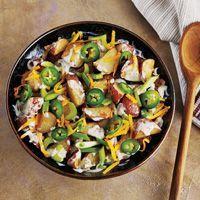 Heat things up with Crispy Roasted Jalapeno Potato Salad made using Whataburger Jalapeno Ranch Dressing.