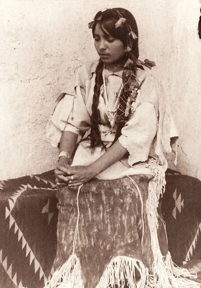 Aleda. Taos Pueblo girl. New Mexico. c. 1914. Photo by Carl Moon.