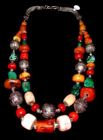 gardenofthefareast:     Tibetan Necklace Tibet, Yemen, India Amber, Coral, Turquoise, Silver