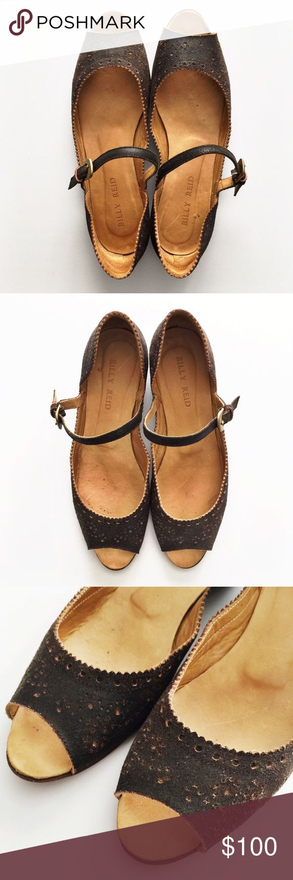 Billy Reid Leather Peep Toe Flats Handmade in Italy. Real leather. Distressed finish with perforated decorative design. Lovingly worn. Billy Reid Shoes Flats & Loafers