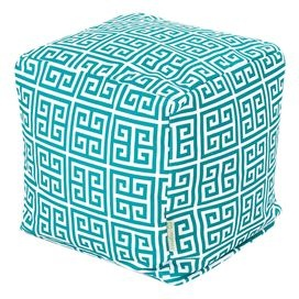 Pacific blue cotton-blend pouf with a Greek key-inspired motif.  Product: PoufConstruction Material: PolyesterColor: PacificFeatures: Zippered slipcoverRecycled, eco-friendly bean bag insertMade in the USADimensions: 16 H x 17 W x 17 DCleaning and Care: Machine wash cover warm, tumble dry low or air dry