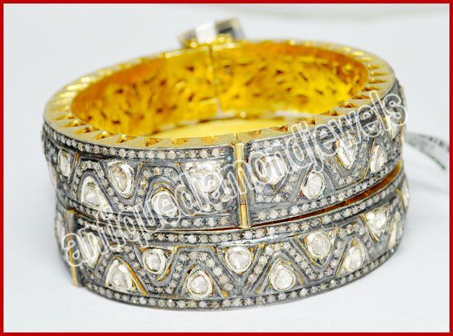 18.49ct ROSE/ANTIQUE DIAMOND SILVER BANGLE/BRACELET x 2Pcs #BridalAntiqueJewels