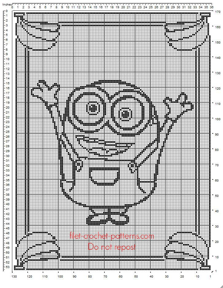 Baby blanket crochet filet free pattern with Minion Bob from Minions - free filet crochet patterns download