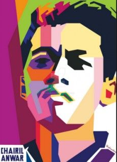 Sajak Putih Bersandar pada tari warna pelangi  Kau depanku bertudung sutra senja..  Di hitam matamu kembang mawar dan melati  Harum rambutmu mengalun bergelut senda...   #Chairil Anwar #Jatuh Cinta