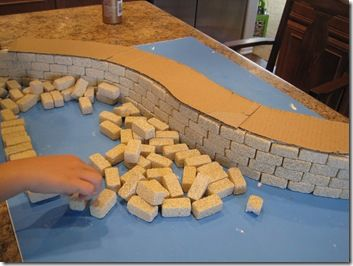 Great Wall of China Craft - Might be fun to do this way or with Rice Krispie Treats. :) (The foam blocks are $14ish on Amazon)