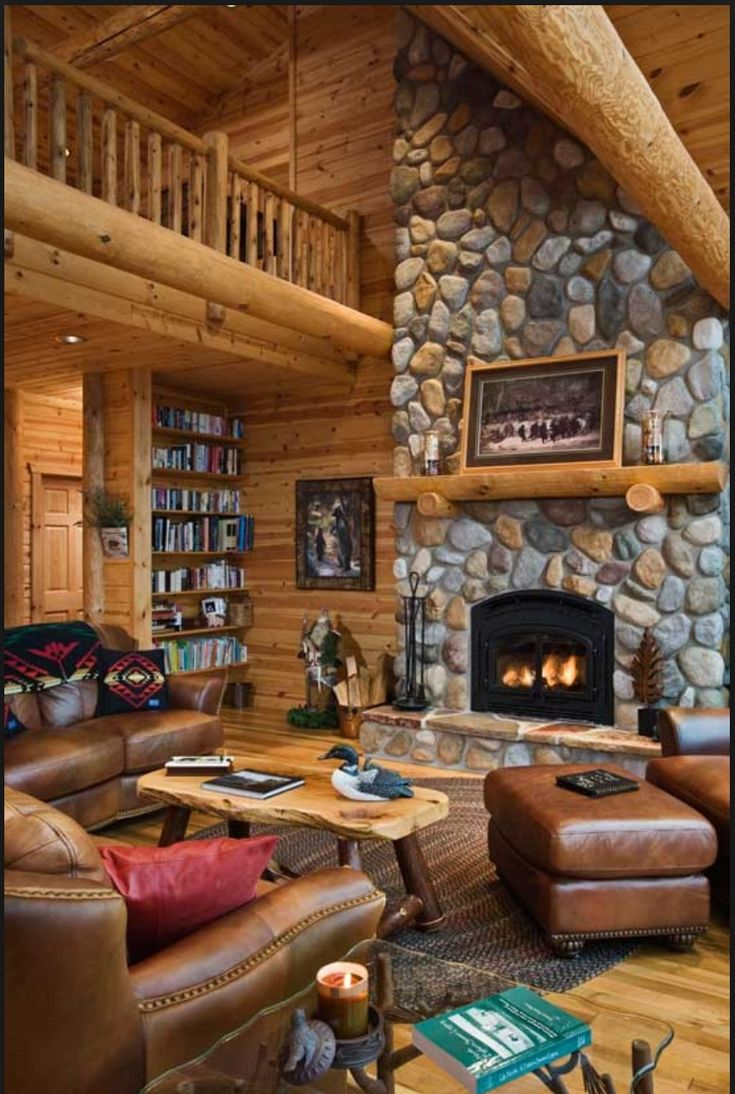 Cabin interior fireplace - Fireplace Railings